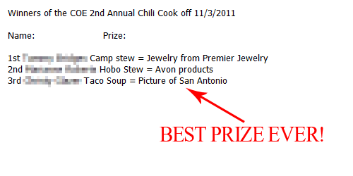 2nd Annual Chili Cook-Off - Best Prize Ever! - The Life of